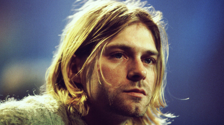 Kurt Cobain looking pensive