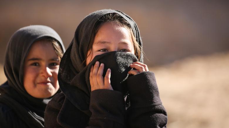 Girls wearing hijabs in Afghanistan