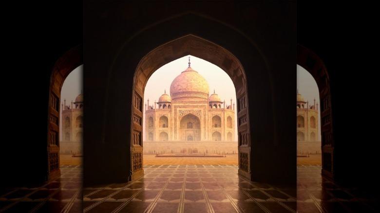 Taj Mahal framed by entry gate