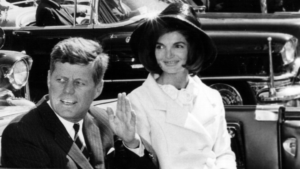 John F. Kennedy at parade with Jackie Kennedy