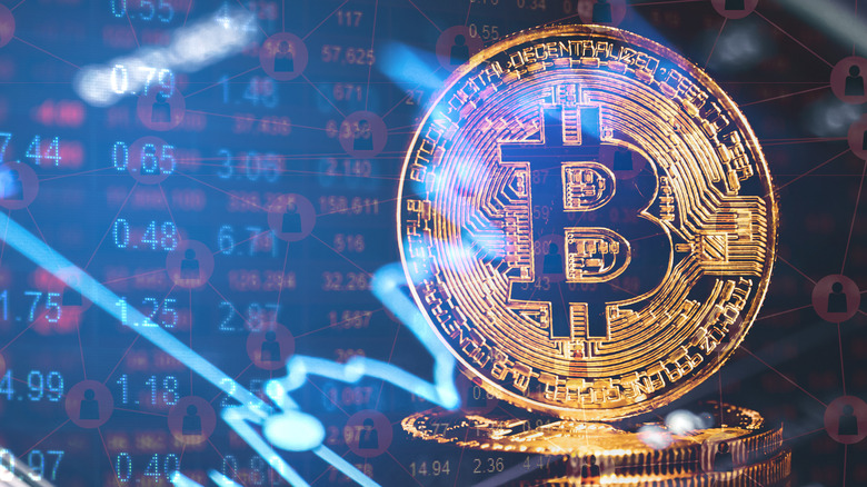 Bitcoin logo and finance-y looking numbers