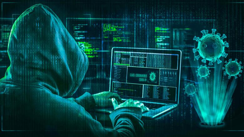 hacker installing Computer virus