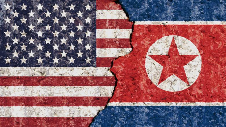 US/North Korean flags