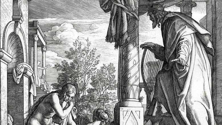 Woodcut of David watching Bathsheba