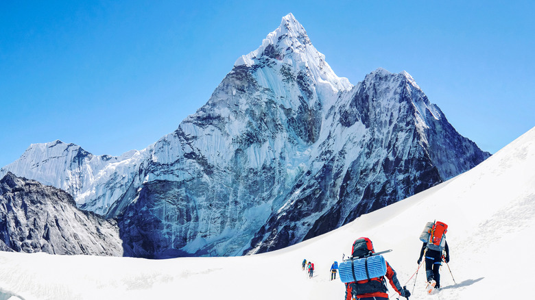 hikers climbing Mount Everest