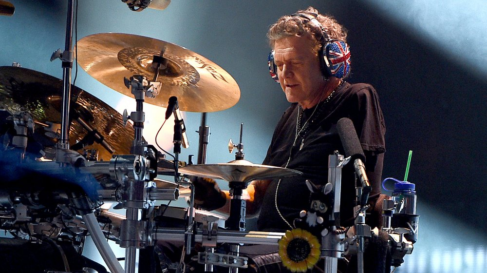 Rick Allen playing his drums.