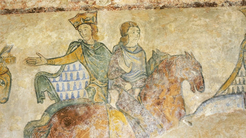 A possible representation of Eleanor of Aquitaine and her daughter Joan of England in 1174. Wall painting in the Saint Radegonde Chapel in Chinon, France.