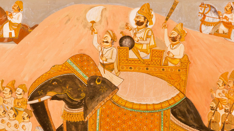 Ancient Indian painting of war elephant