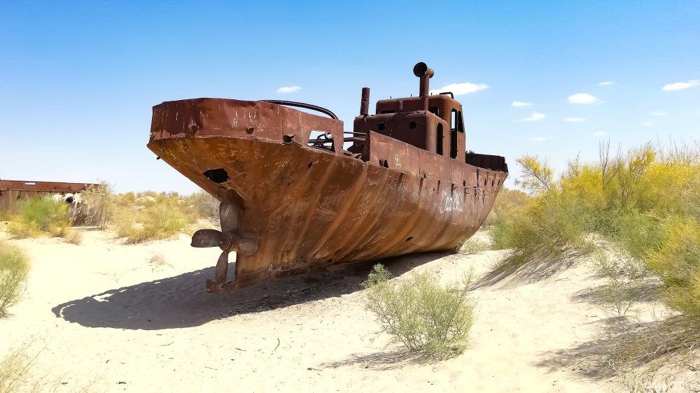 Ship in Aralkum Desert.