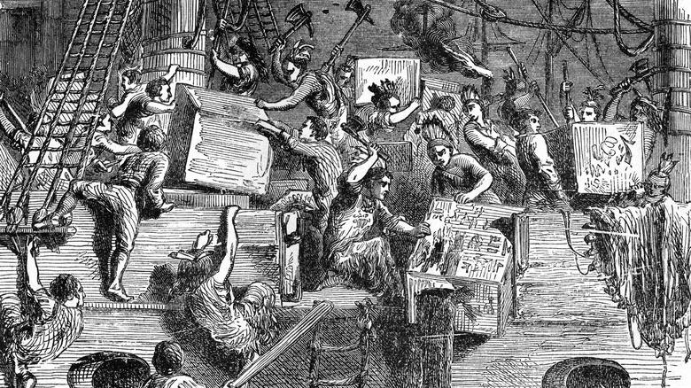 Artist's rendition of the Boston Tea Party