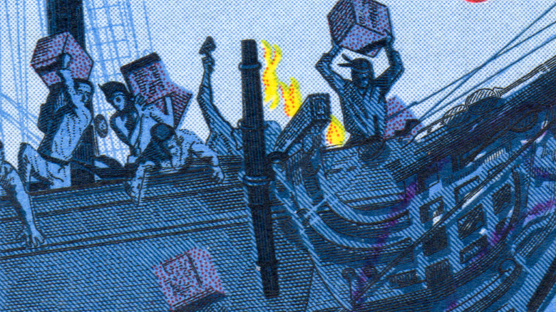 Postage stamps depicting The Boston Tea Party