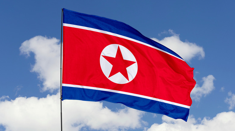 North Korean flag waving in the wind