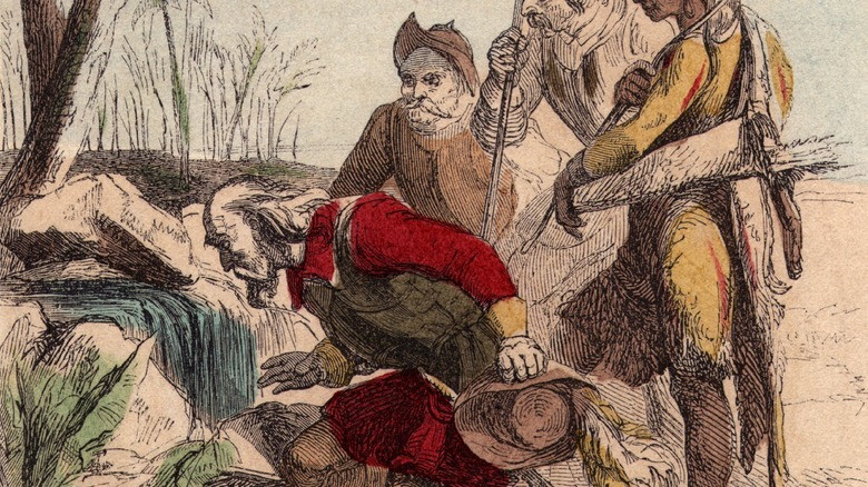 drawing of Ponce de León searching for the fountain of youth