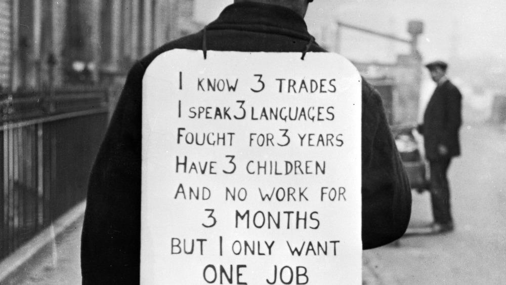 Unemployed man Great Depression
