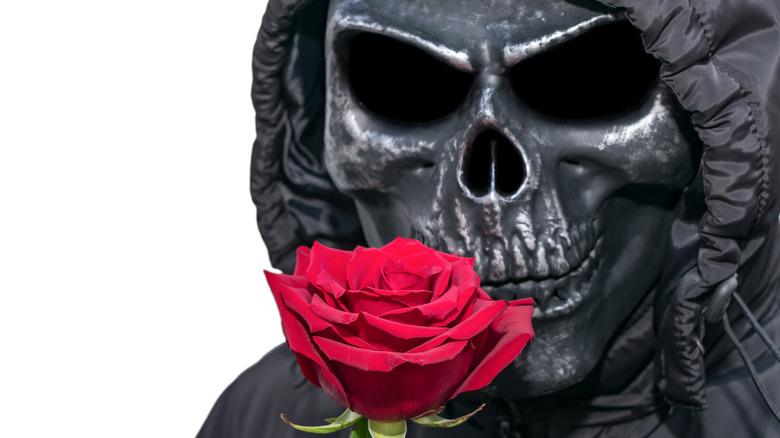 Skull face with flower