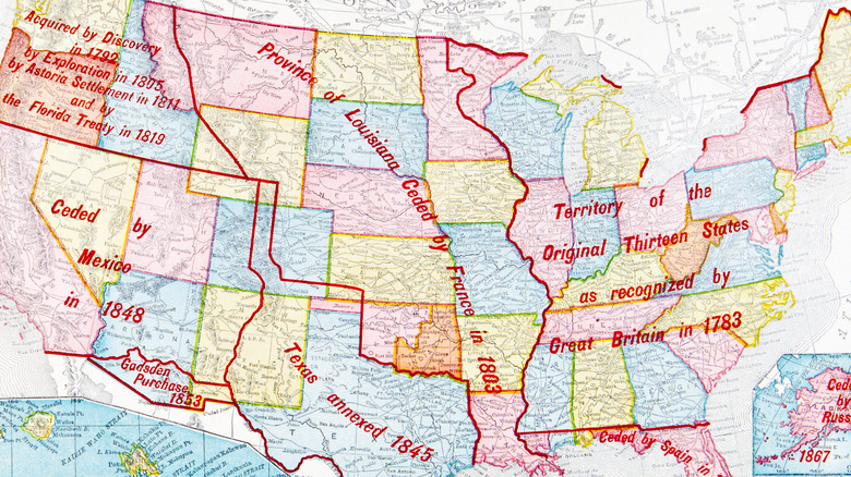 Territorial growth of the United States including the Louisiana Purchase