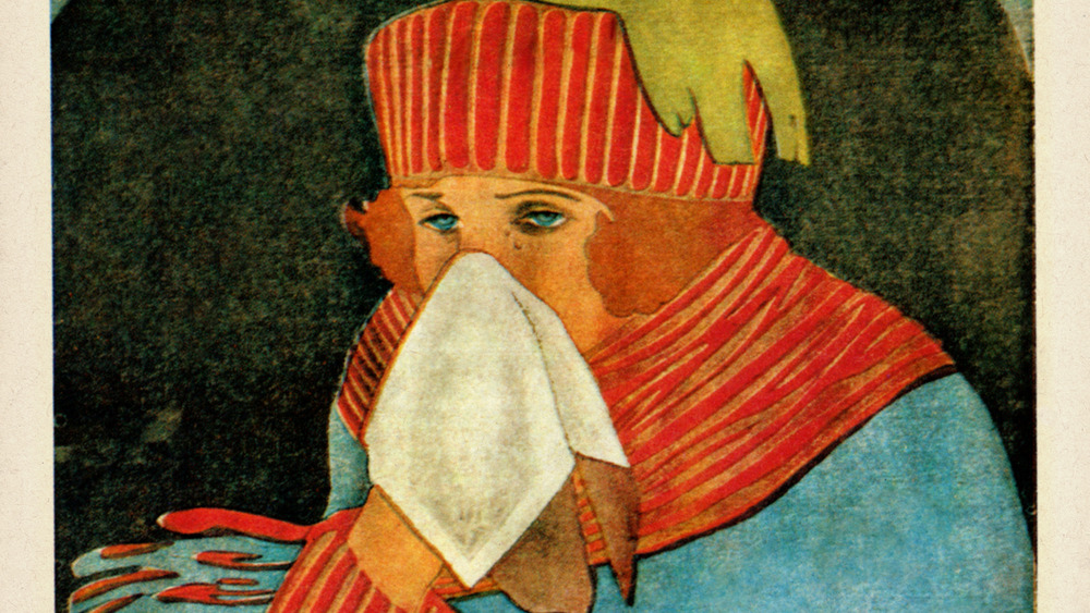 Rinolein, flu and cold medicine advertising featuring a painting of someone in a scarf and hat using a tissue