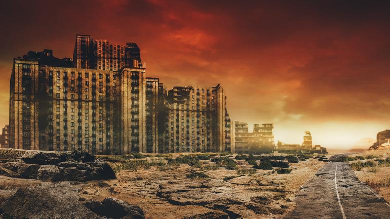 A post-apocalyptic scene