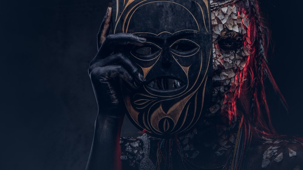 Fantasy African tribal makeup and mask
