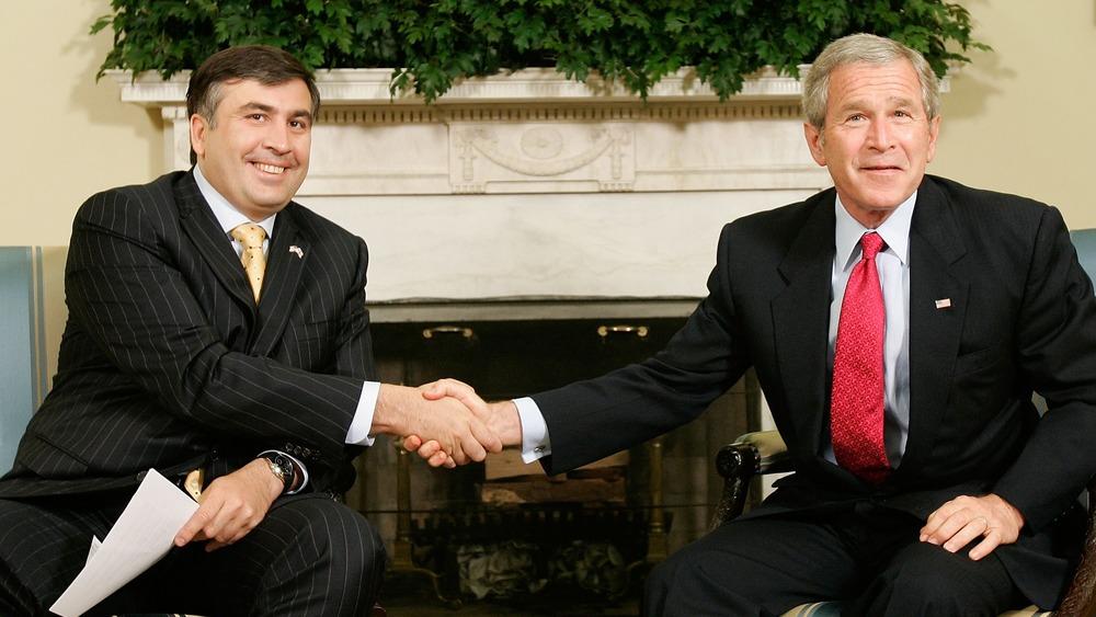 Georgian President Mikhail Saakashvili, President George W. Bush