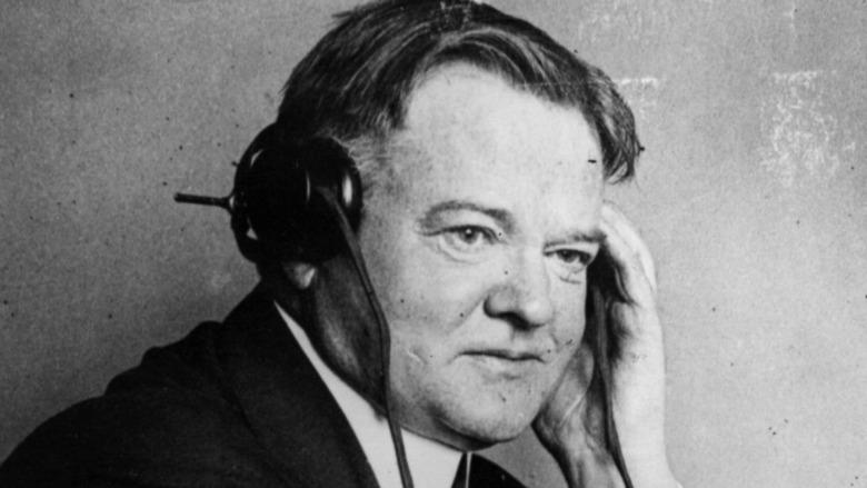 Herbert Hoover using radio