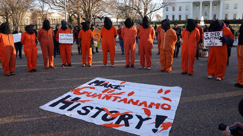 People protesting torture