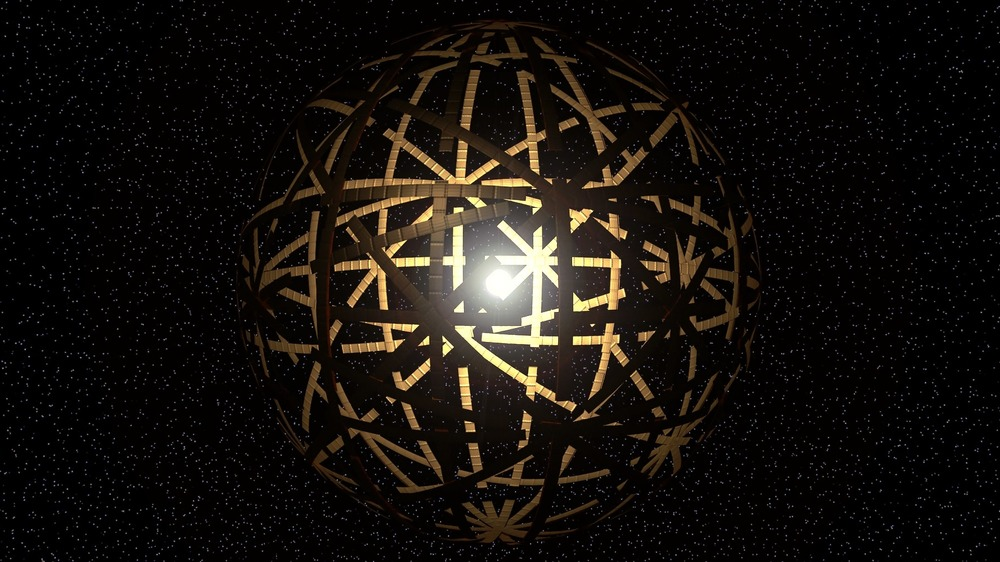 One artist's rendering of a Dyson sphere made of independently orbiting arched panels