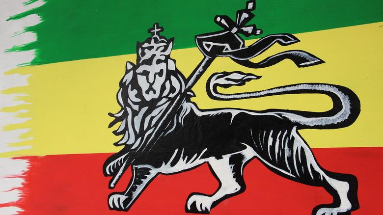Rastafarian lion on flag