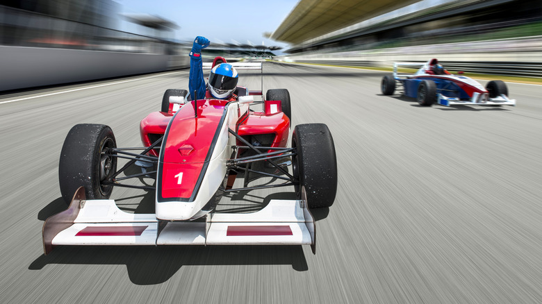 car racing to finish line