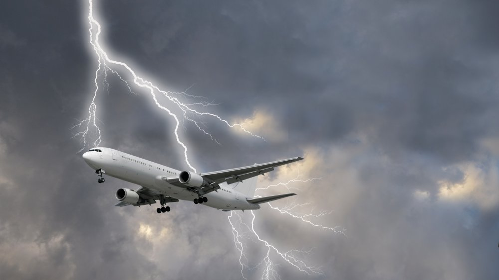 lightning striking a plane