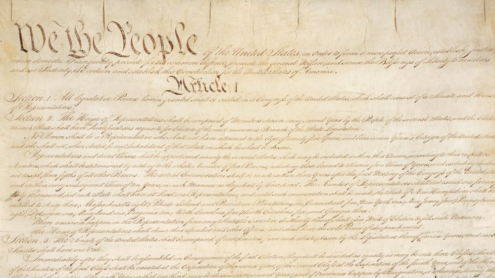 Page one of the United States Constitution, drafted in 1787
