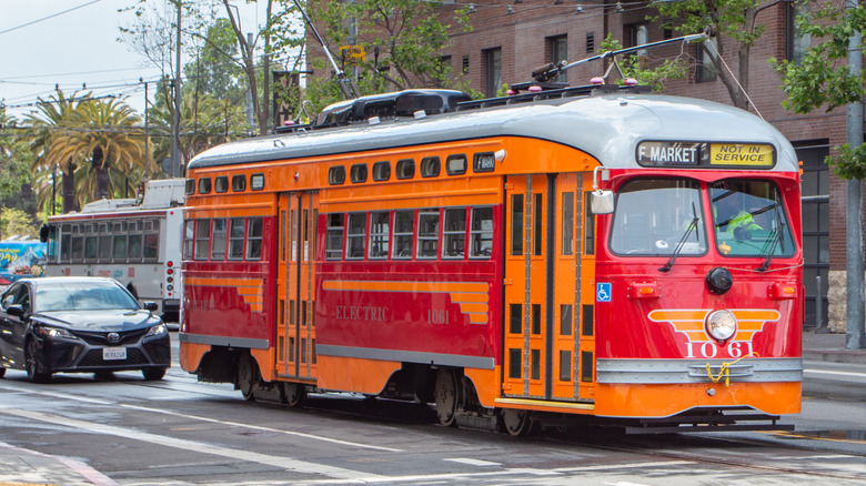 Vintage red car trolley