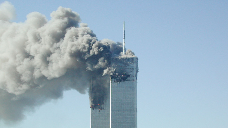The Twin Towers burning, September 11, 2001