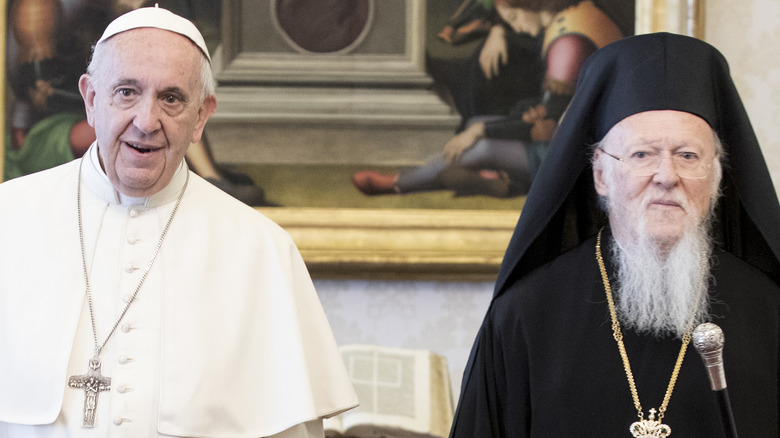 Pope Francis and Patriarch Bartholomew smiling