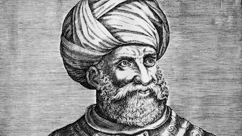 ink drawing of Hayreddin Barbarossa in turban