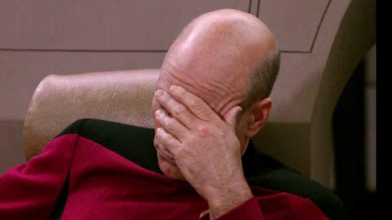 captain picard, facepalm, Star Trek