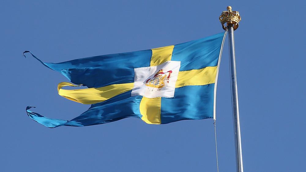 Swedish royal flag flying