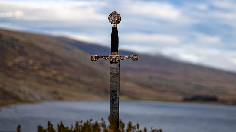 excalibur sword in stone lake