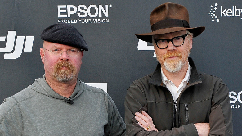Mythbusters Jamie Hyneman and Adam Savage attend the DJI Evolution Inspire Launch