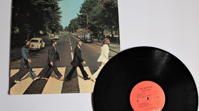 Abbey Road album cover and vinyl