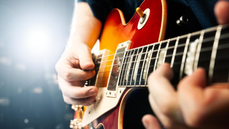 Man playing electric guitar
