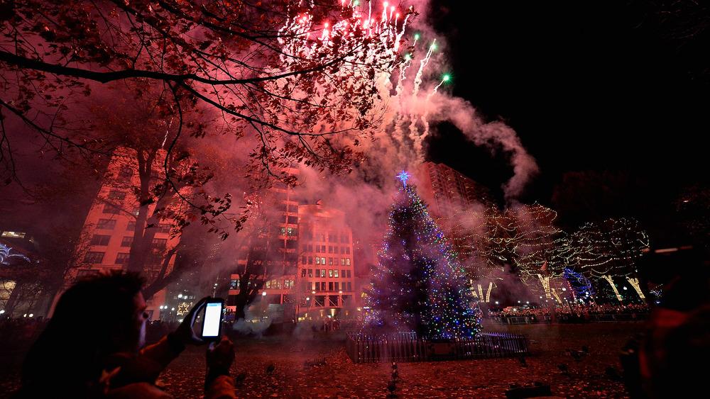 Fireworks at Christmas Tree Lighting at Boston Common Park