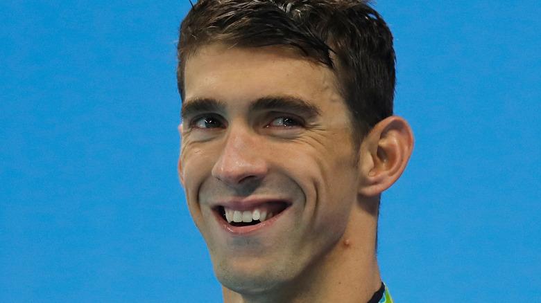 Michael Phelps on podium