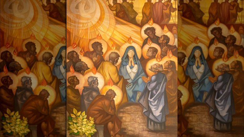 painting of Pentecost in the church by Navarro Perez Dolz