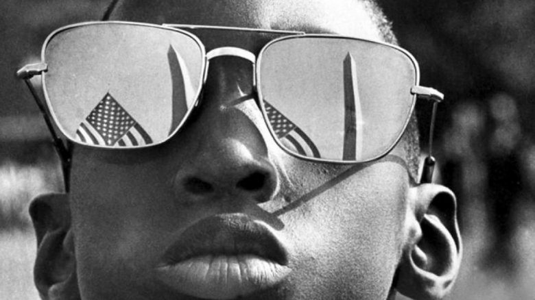 civil rights march washington monument reflection sunglasses