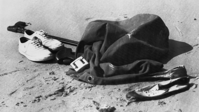 pile of clothes left behind by Harold Holt