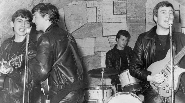 The Beatles performing with Pete Best on drums