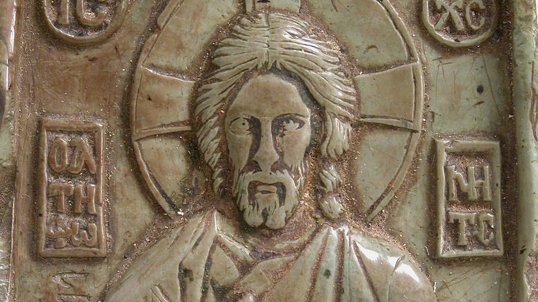 stone carving of jesus