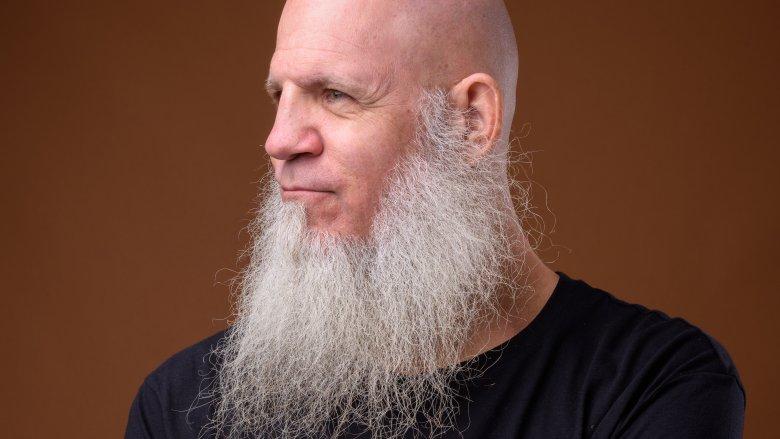 Bald man with white beard