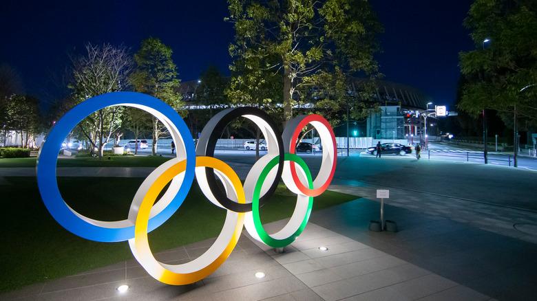Olympic rings at night